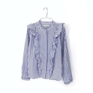 Madewell Striped Ruffle Front Long Sleeve Top